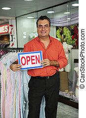 meldingsbord, eigenaar, business:, detailhandel, open, winkel