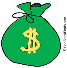 meldingsbord, geld, dollar, zak, voorkant