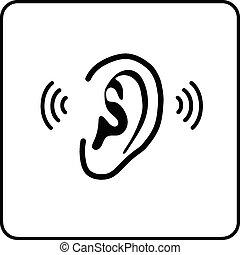 meldingsbord, -, oor, vector, silhouette