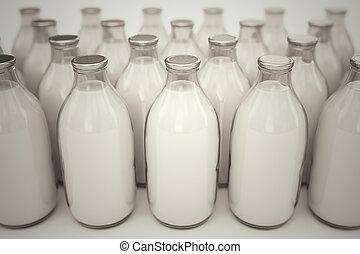 melk, bottles.