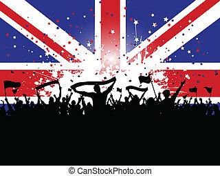 menigte, unie, voetbal, vlaggen, dommekracht, banieren