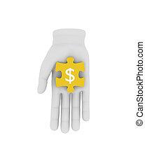 menselijk, illustratie, raadsel, houden, gele, achtergrond., symbool., hand, 3d, witte