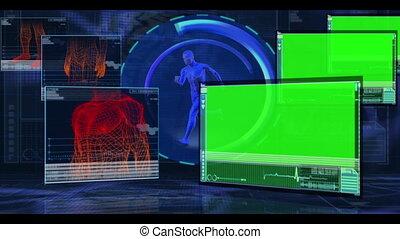 menselijk, onderdelen, monitor, lichaam, wezen