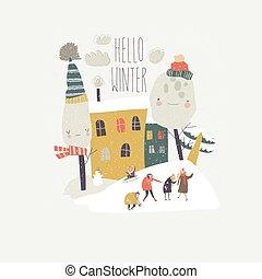 mensen, achterplaats, spelend, groep, vrolijke , sneeuwballen