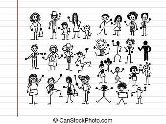 mensen, activiteit, iconen, illustratie