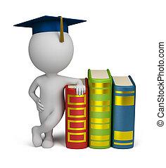 mensen, -, afstuderen, boekjes , kleine, 3d