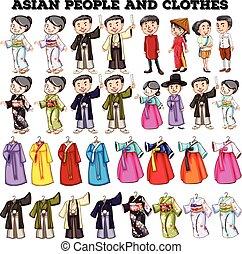 mensen, aziaat, kleren