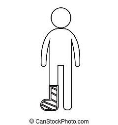 mensen, been, illustratie, kapot, ontwerp, arm, pictogram