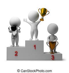 mensen, -, belonen, winnaars, kleine, 3d