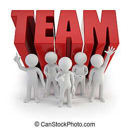 mensen, betrouwbaar, -, team, kleine, 3d