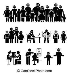 mensen, bril, gezin, kinderen, slijtage