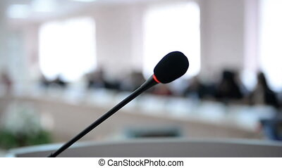 mensen, close-up., microfoon, vergadering, business.