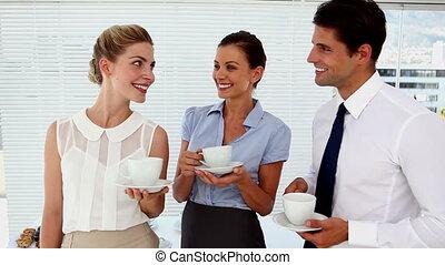 mensen, co, zakelijk, hebben, het glimlachen