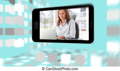 mensen, com, video's, zakelijk, gebruik