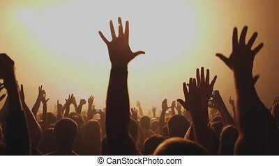 mensen, concert., handgeklap, partij