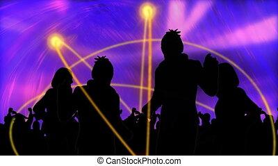 mensen, dancing, jonge