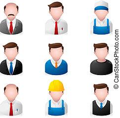 mensen, -, de pictogrammen van het bureau