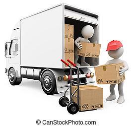 mensen., dozen, vrachtwagen, witte , werkmannen , het leegmaken, 3d