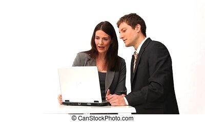 mensen, draagbare computer, zakelijk, voorkant, het spreken