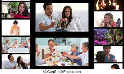 mensen, drinkt, montage, wijntje
