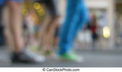 mensen, focus., straat, uit
