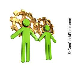 mensen, gears., gouden, gefuseerde, 3d, kleine