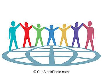 mensen, globe, op, armen, kleuren, handen, houden