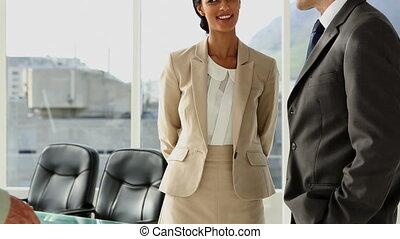 mensen, greetin, vergadering, zakelijk