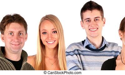 mensen, groep, gezichten