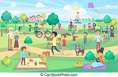 mensen, groot, alles, dag, park, groene, aardig, leeftijden