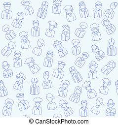 mensen, hand, getrokken, seamless, iconen
