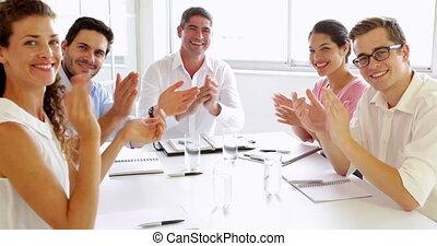 mensen, handgeklap, handel team