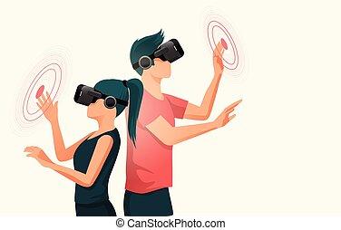 mensen, headsets, jonge, feitelijke realiteit, twee, gebruik
