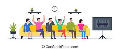 mensen, het schouwen tv, groep, vrolijke