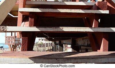 mensen, houten, nee, op, beklimming, afsluiten, trap
