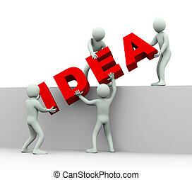 mensen, -, idee, 3d, concept
