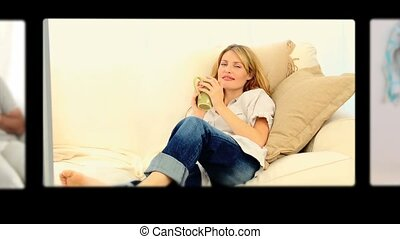 mensen, koffie, thuis, montage, terwijl, relaxen, drinkt