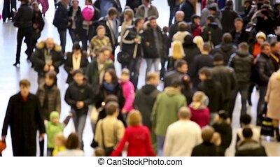 mensen, ongeveer, menigte, wandeling