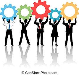 mensen, op, toestellen, team, oplossing, technologie