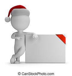 mensen, -, plank, kerstman, kleine, lege, 3d