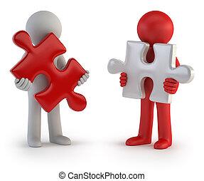 mensen, raadsel, -, teamwork, kleine, 3d