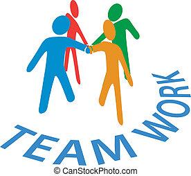 mensen, samenwerking, toevoegen, teamwork, handen