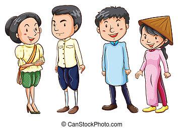 mensen, schetsen, eenvoudig, aziaat, gekleurd