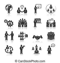 mensen, set, vergadering, zakenbeelden