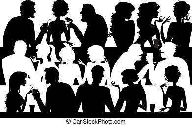 mensen, silhouettes, koffiehuis