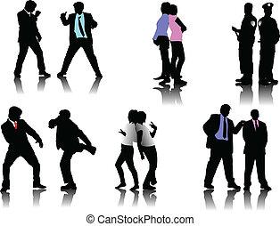 mensen, silhouettes, zakelijk