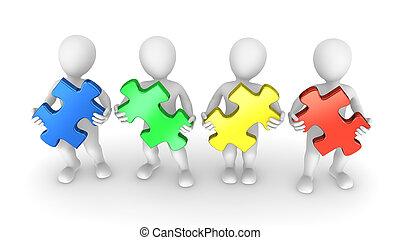 mensen, stukken, raadsel, gekleurde, 3d