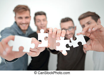 mensen, stukken, raadsel, jonge, groep