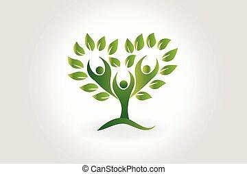 mensen, symbool, boompje, teamwork, vellen, logo