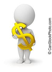 mensen, -, symbool, dollar, handen, kleine, 3d